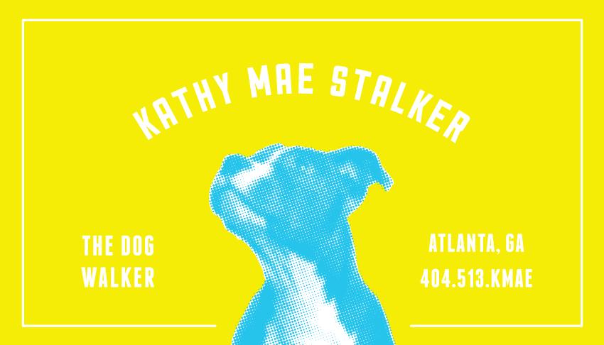 Kathy mae dog walker james martin design mark and business card for a local dog walker in atlanta ga colourmoves